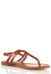 Braided Thong Slingback Sandals
