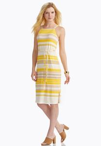 Belted Variegated Stripe Midi Dress- Plus