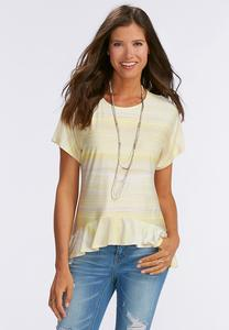 Ruffled Ombre Wash Sharkbite Top-Plus