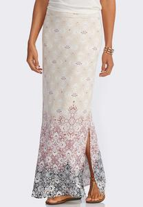 Bordered Floral Scroll Maxi Skirt