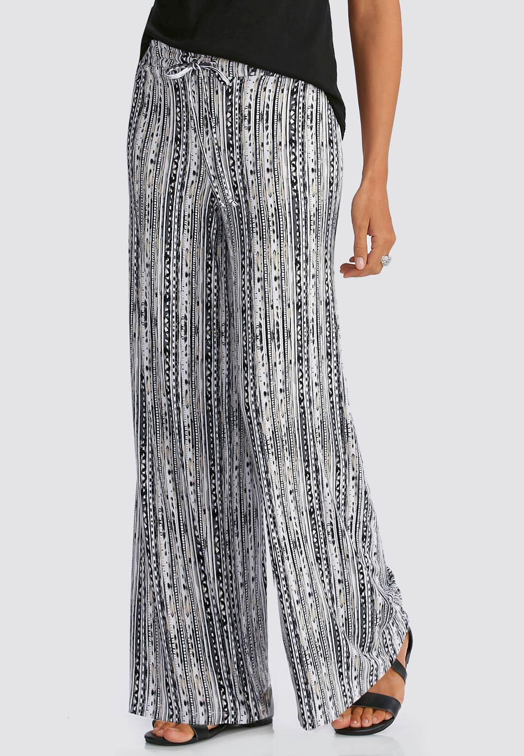 Painted Geo Striped Palazzo Pants Wide Leg | Cato Fashions