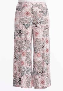 Scroll Patchwork Extreme Wide Palazzo Pants-Plus