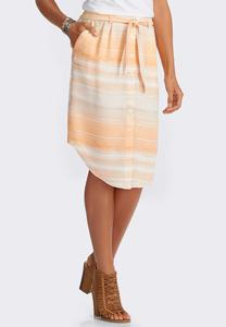 Ombre Wash Belted Shirt Skirt-Plus