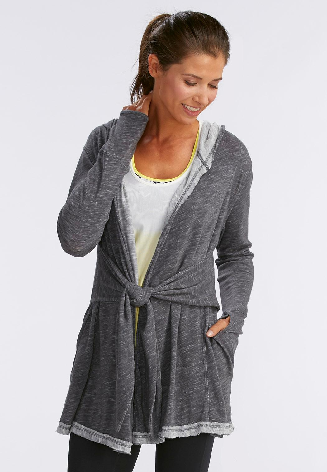 Tie Waist Athleisure Hooded Cardigan-Plus Tops   Cato Fashions