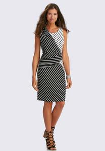 Draped Directional Striped Sheath Dress-Plus