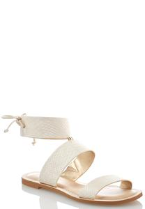 Snakeskin Ankle Cuff Sandals