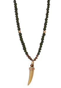 Horn Pendant Beaded Necklace