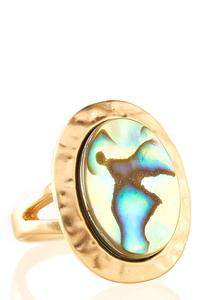 Iridescent Abalone Shell Ring