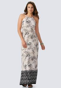Bordered Palm Frond Maxi Dress-Plus