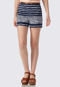 Belted Wavy Striped Shorts