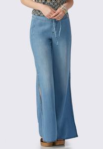 Slit Wide Leg Chambray Pants