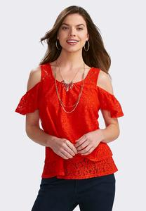 Layered Lace Cold Shoulder Top