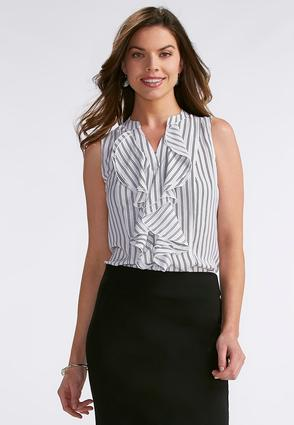 Abstract Stripe Double Ruffle Top