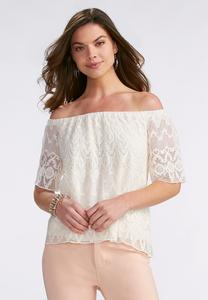 Lace Off the Shoulder Top-Plus