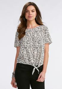 Abstract Pointillism Side Tie Top- Plus