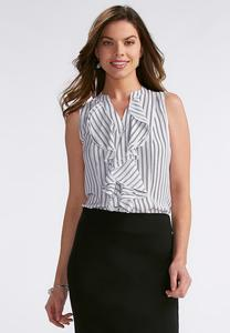 Abstract Stripe Double Ruffle Top- Plus