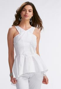 Lattice Neck High-Low Peplum Tank-Plus