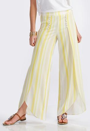 Blurred Striped Tulip Leg Pants