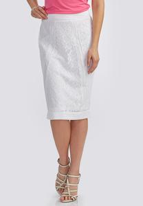 Mesh Panel Lace Pencil Skirt