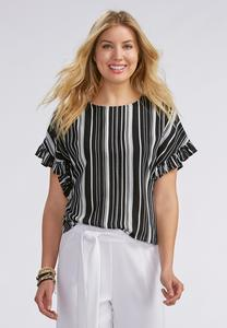 Ruffled Sleeve Striped Skimmer Top
