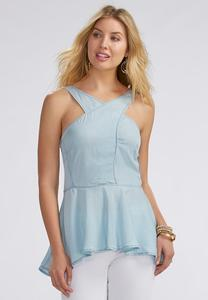 Pinstriped Lattice Neck Peplum Tank