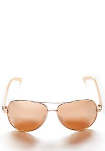 Rose Tinted Aviator Sunglasses