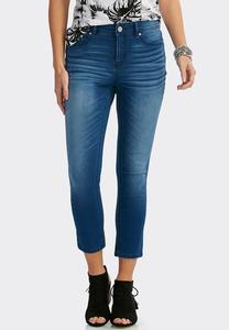 Whiskered Skinny Crop Jeans
