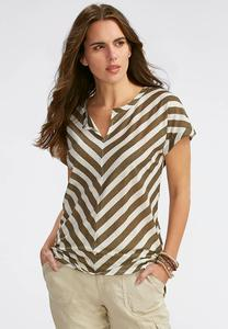 Split Neck Striped Tee