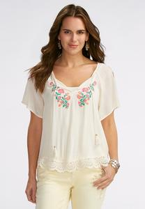 Embroidered Floral Poet Top
