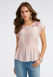 Embroidered Printed Peasant Top-Plus