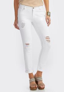 White Distressed Skinny Ankle Jeans