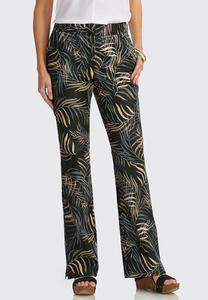 Palm Frond Micro Flare Pants