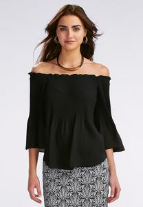 Stretch Pleat Off The Shoulder Top