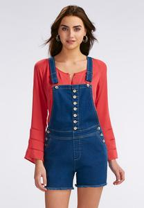 Frayed Denim Short Overalls