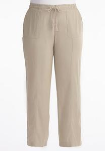 Drawstring Linen Pants-Plus