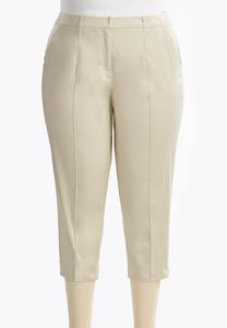 Pintucked Seam Sateen Crop Pants-Plus