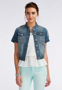 Medium Wash Denim Jacket-Plus