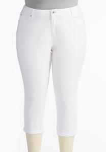Optic White Skinny Crop Jeans-Plus