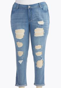 Distressed Girlfriend Jeans-Plus