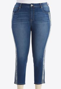 -Tribal Embroidered Skinny Crop Jeans-Plus