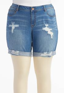 Distressed Girlfriend Shorts-Plus