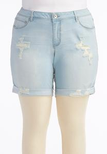 Light Wash Distressed Girlfriend Jean Shorts-Plus