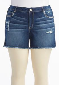 Embroidered Distressed Jean Shorts-Plus