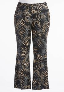 Palm Frond Micro Flare Pants-Plus
