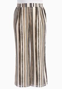 Painterly Striped Palazzo Pants-Plus