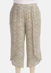 Herringbone Sketch Tulip Hem Crop Pants-Plus