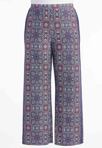 Bordered Floral Palazzo Pants-Plus