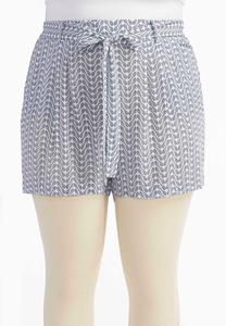 Belted Paisley Print Soft Shorts- Plus