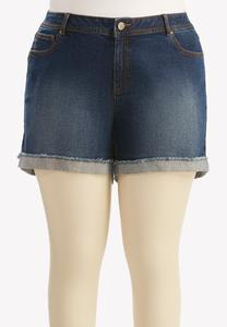 Leaf Imprint Pocket Jean Shorts-Plus