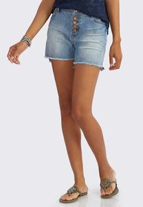 Frayed Five Button Jean Shorts